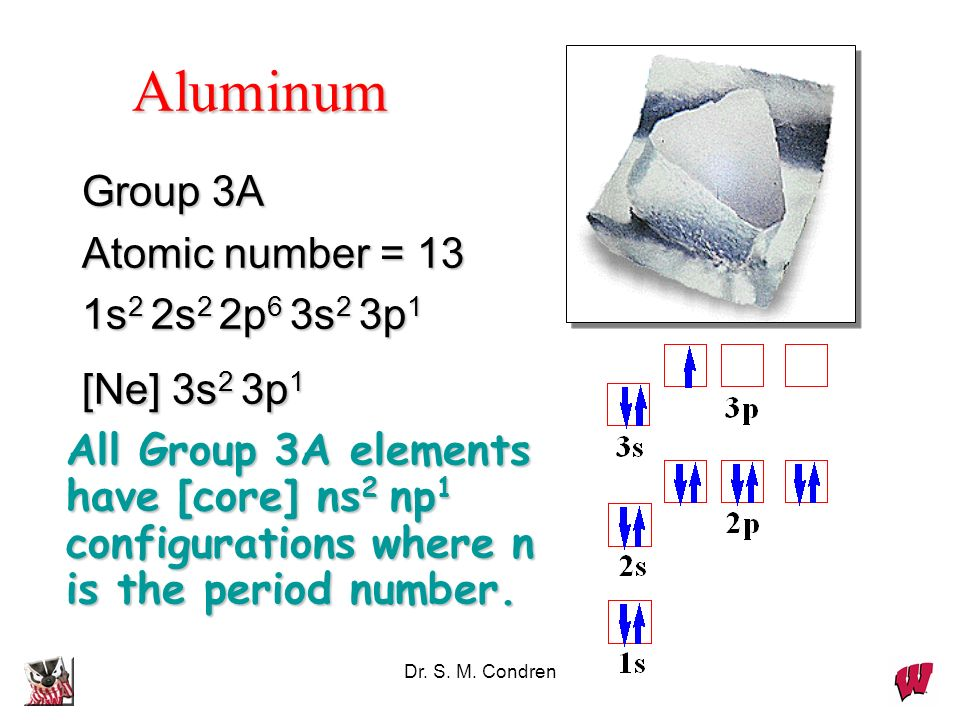 Aluminum Group 3A Atomic number = 13 1s2 2s2 2p6 3s2 3p1 [Ne] 3s2 3p1